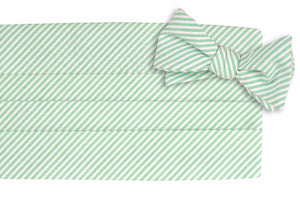Mint Green Seersucker Stripe Cummerbund Set