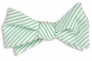 Mint Green Seersucker Stripe Bow Tie