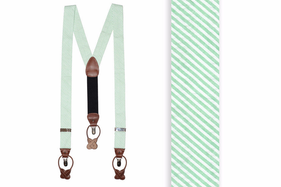 Mint Green Seersucker Stripe Braces