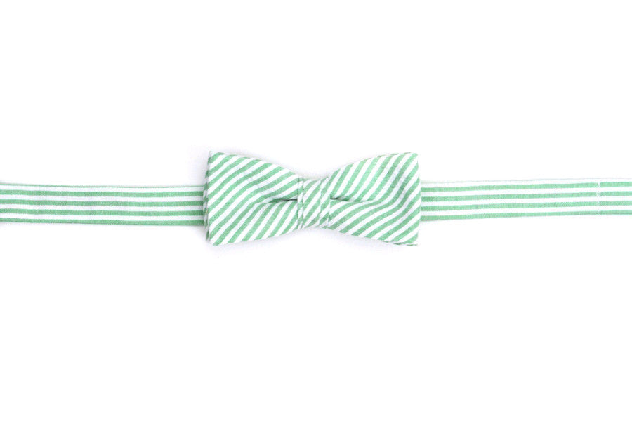 Mint Green Seersucker Stripe Boy's Bow