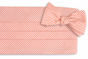 Orange Seersucker Stripe Cummerbund Set