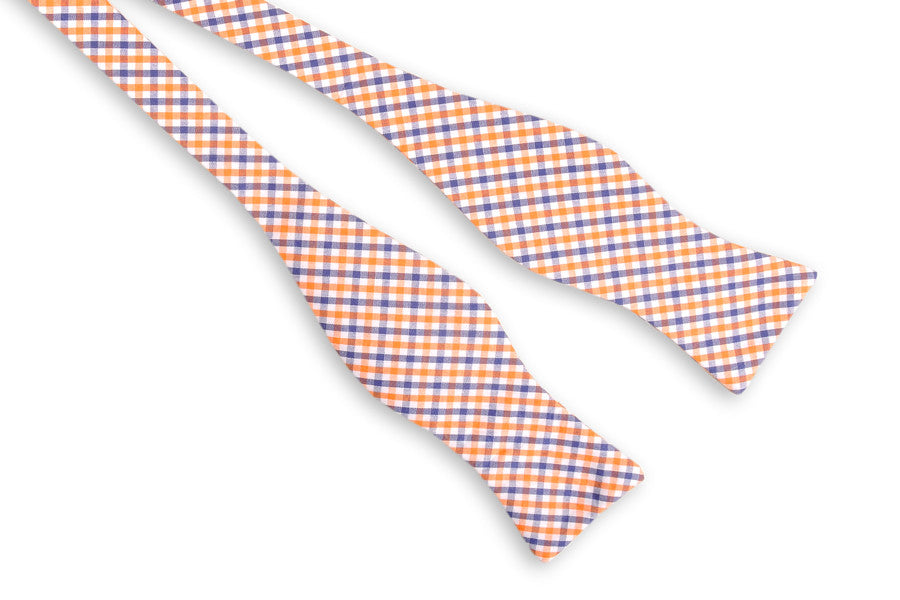Orange and Navy Tattersall Bow Tie