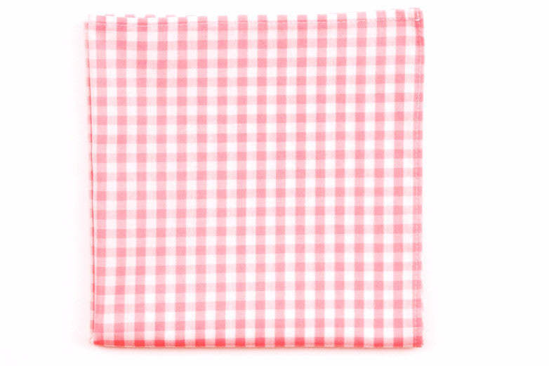 Pale Pink Check Pocket Square