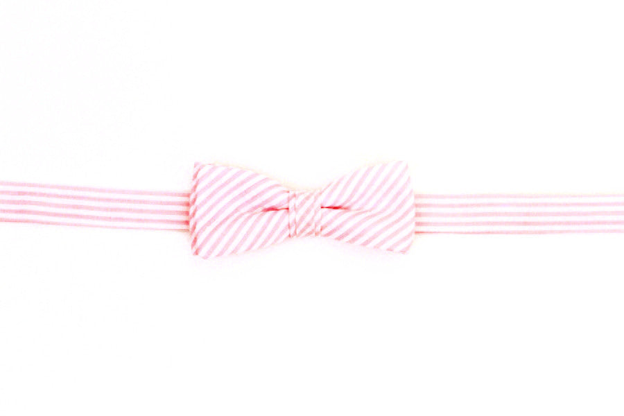 Pink Seersucker Stripe Boy's Bow
