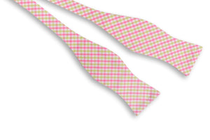 Pink and Green Tattersall Bow Tie