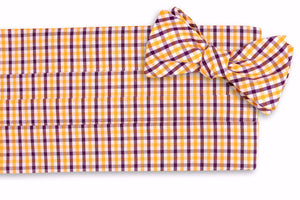 Purple and Gold Tattersall Cummerbund Set