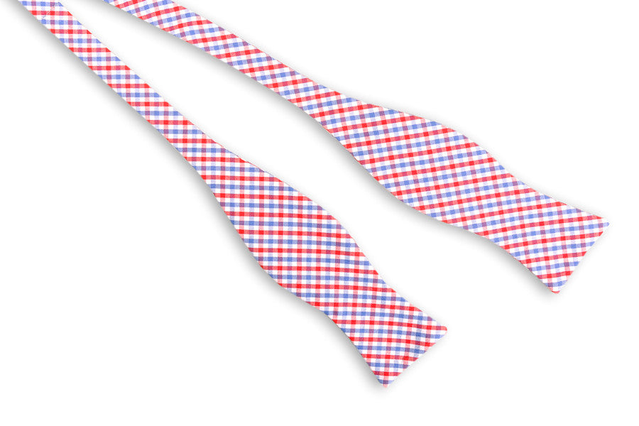 Red and Old Blue Tattersall Bow Tie