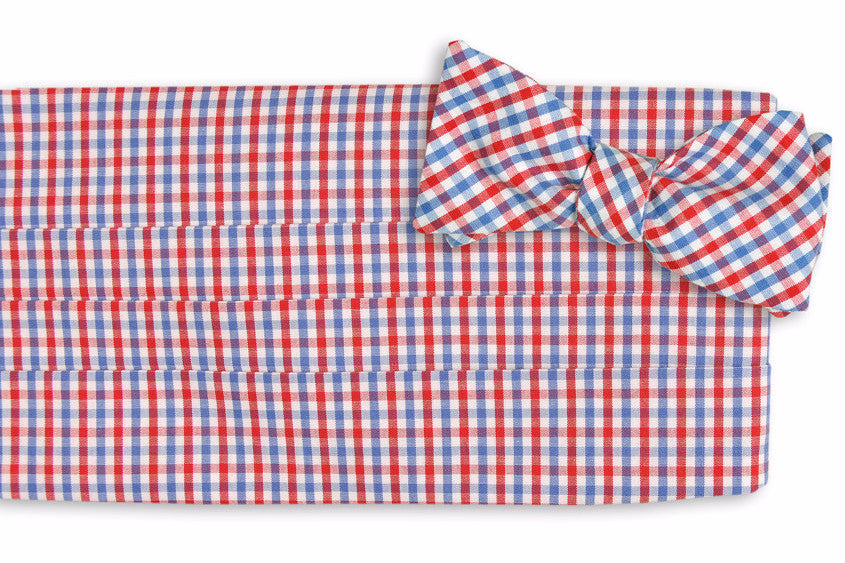 Red and Old Blue Tattersall Cummerbund Set