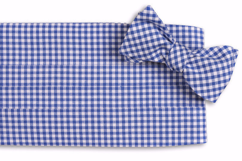 Royal Blue Gingham Cummerbund Set