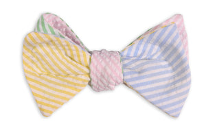 Seersucker Four Way Bow Tie