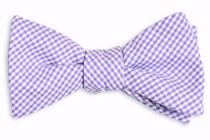 Soft Lavender Mini Check Bow Tie