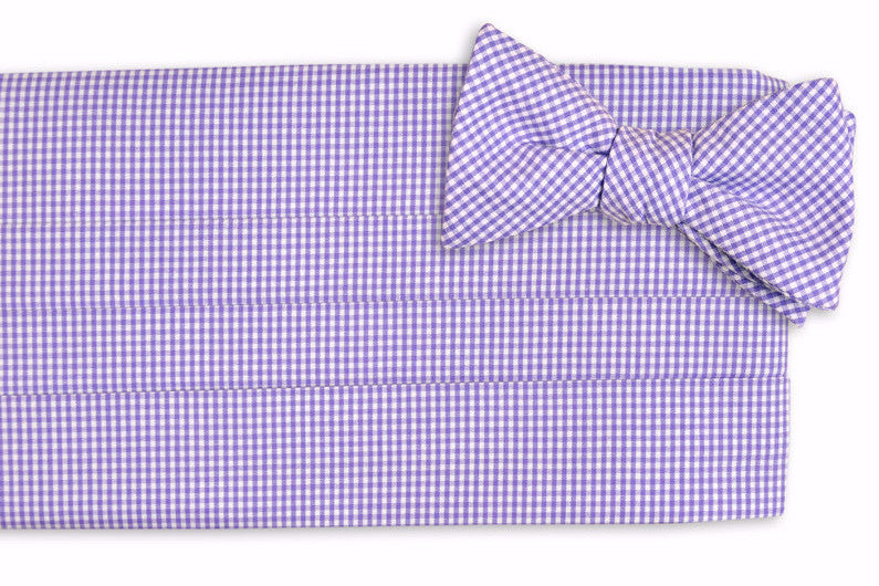 Soft Lavender Mini Check Cummerbund Set