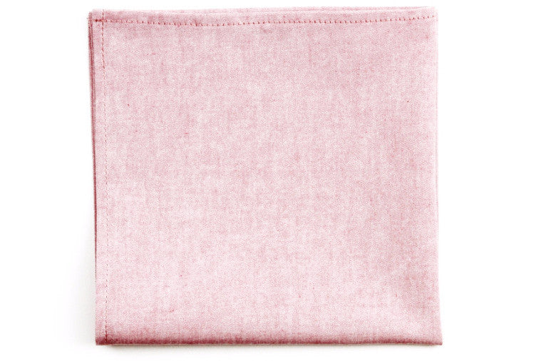 Soft Red Chambray Pocket Square