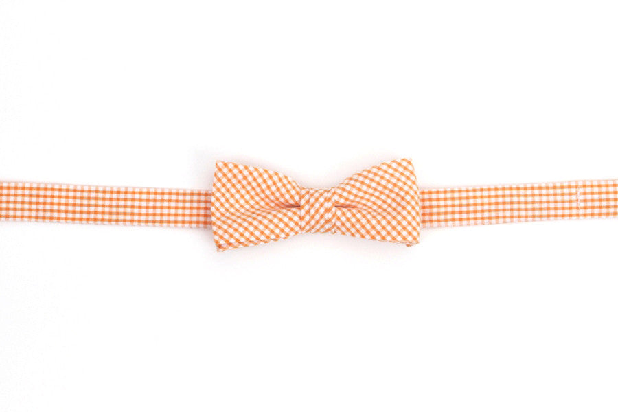 Soft Tangerine Seersucker Gingham Boy's Bow