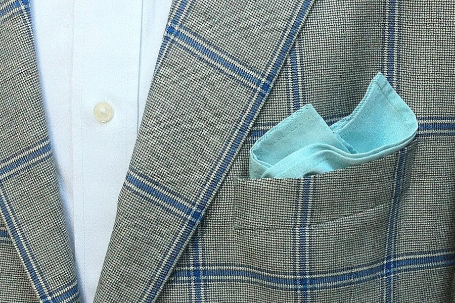Teal Chambray Pocket Square
