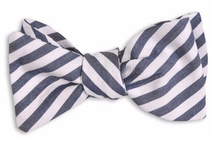 True Navy Stripe Bow Tie