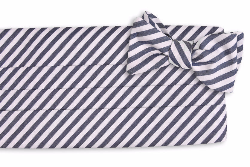 True Navy Stripe Cummerbund Set