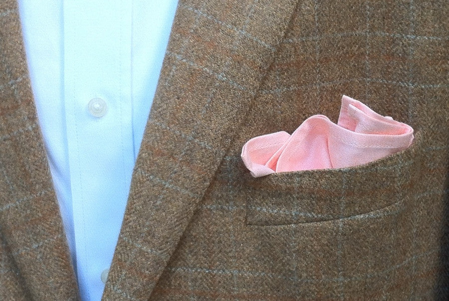 Washed Orange Chambray Pocket Square