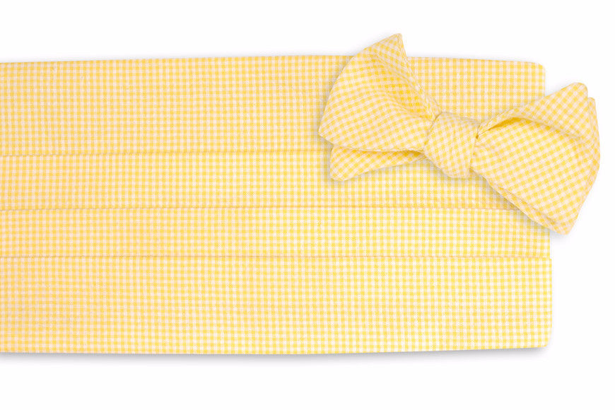 Yellow Seersucker Gingham Cummerbund Set