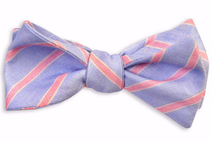 Blue and Pink Linen Stripe Bow Tie