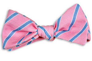 Hot Pink and Navy Linen Stripe Bow Tie