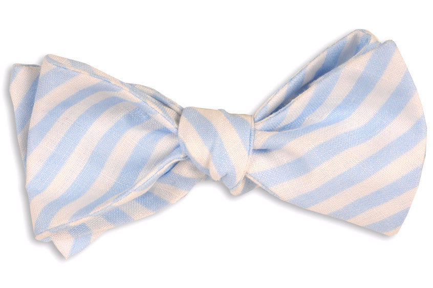 Light Blue Linen Stripe Bow Tie