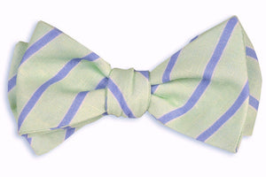 Mint and Periwinkle Linen Stripe Bow Tie