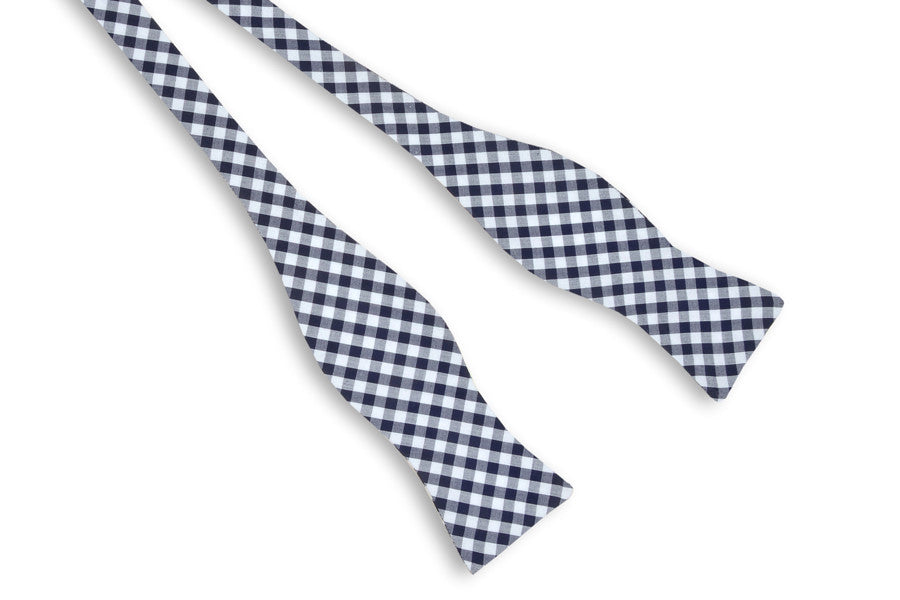 Navy Check Bow Tie