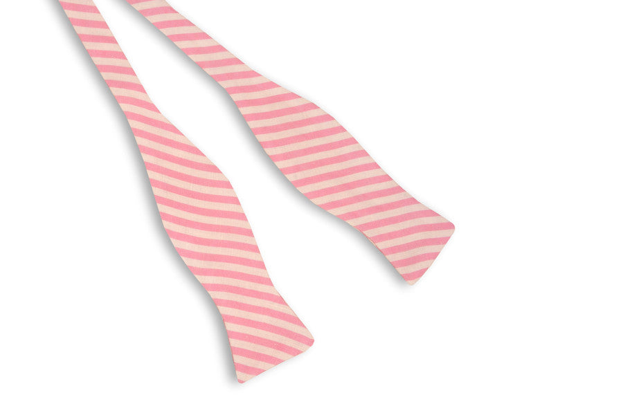Rose Linen Stripe Bow Tie