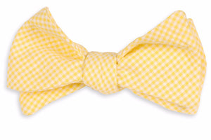 Yellow Seersucker Gingham Bow Tie