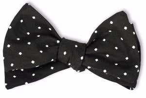 Black Woven Dot Bow Tie