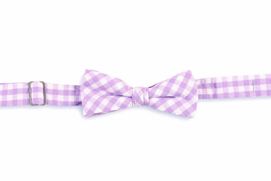 Lavender Check Boy's Bow Tie