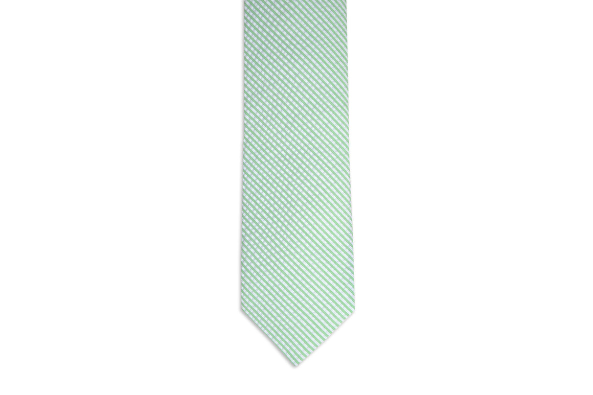 Mint Green Seersucker Stripe Necktie