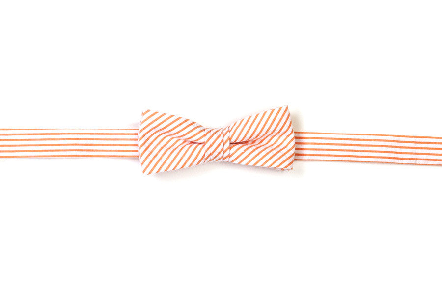 Orange Seersucker Stripe Boy's Bow Tie
