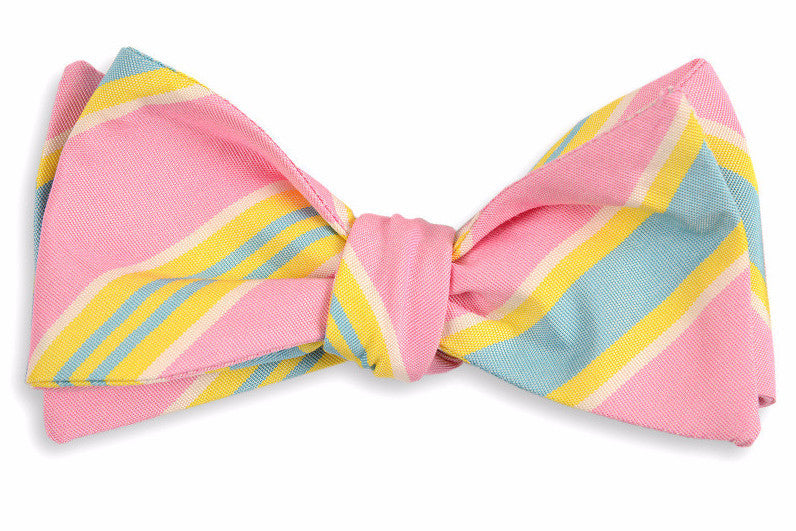 Pink Maybank Stripe Bow Tie