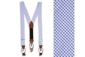 Royal Blue Seersucker Gingham Braces