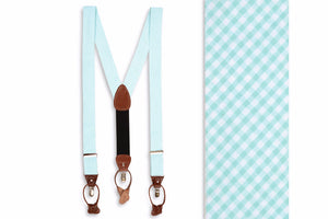 Seafoam Seersucker Gingham Braces