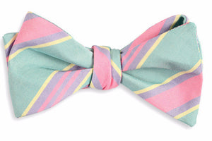 Teal Maybank Stripe Bow Tie