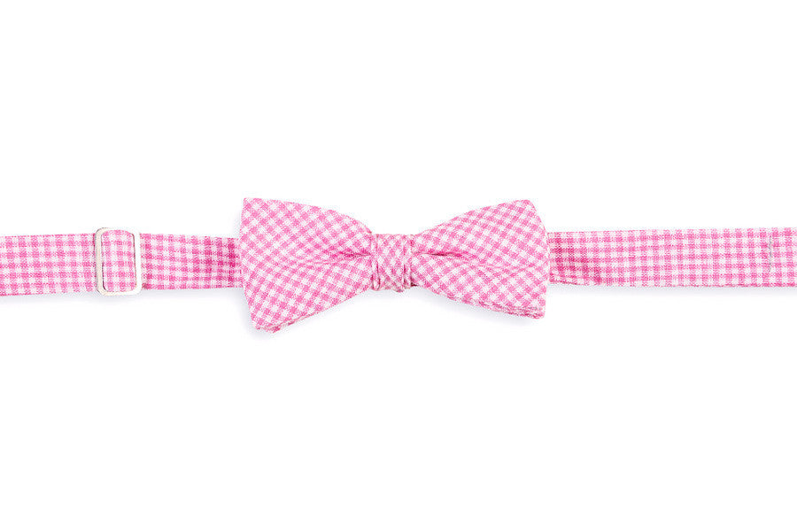 Watermelon Linen Gingham Boy's Bow Tie