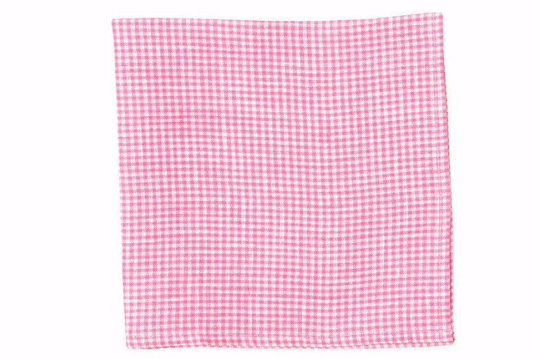 Watermelon Linen Gingham Pocket Square