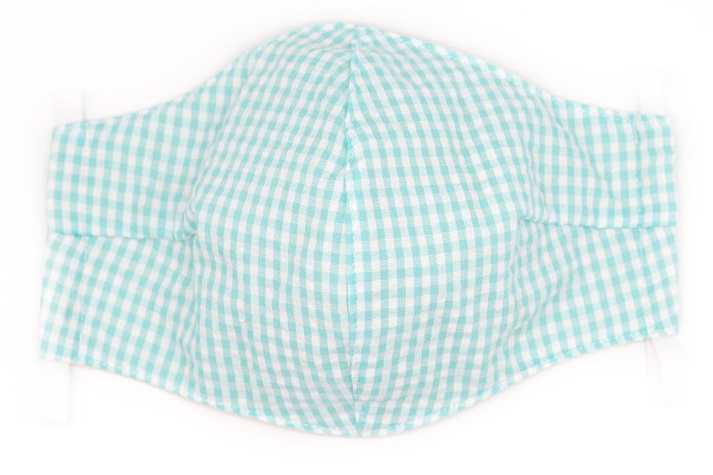 Seafoam Seersucker Gingham Face Mask