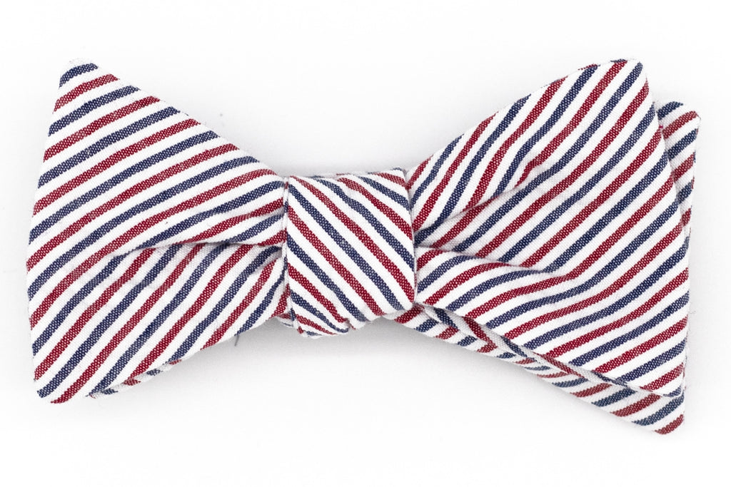 Barber Pole Seersucker Bow Tie