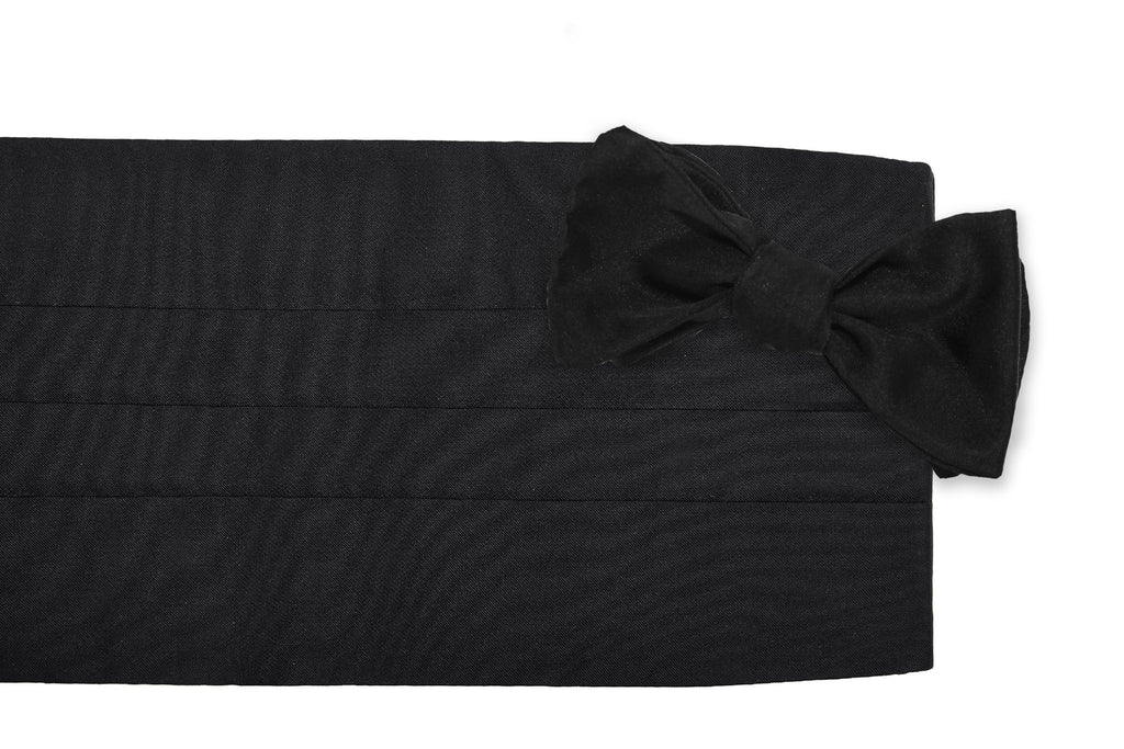 Black Satin Cummerbund Set