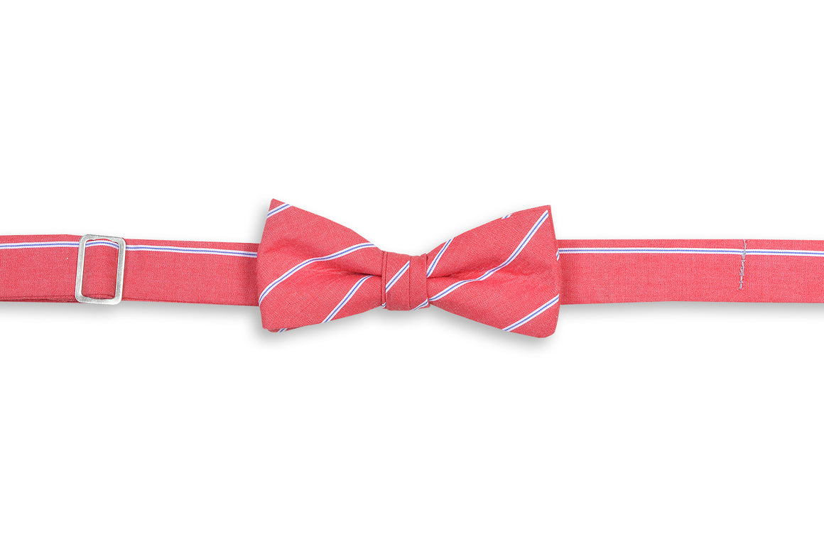 Buoy Stripe Boy's Bow Tie - Red