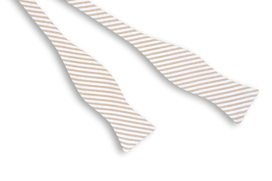 Champagne Wide Seersucker Stripe Bow Tie