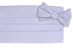 Classic Blue Seersucker Stripe Cummerbund Set