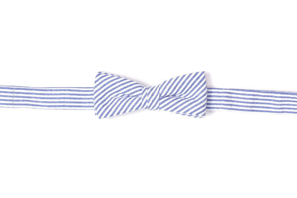 Classic Blue Seersucker Stripe Boy's Bow