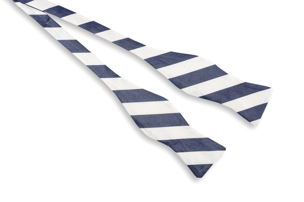 Classic Navy and White Stripe Bow Tie