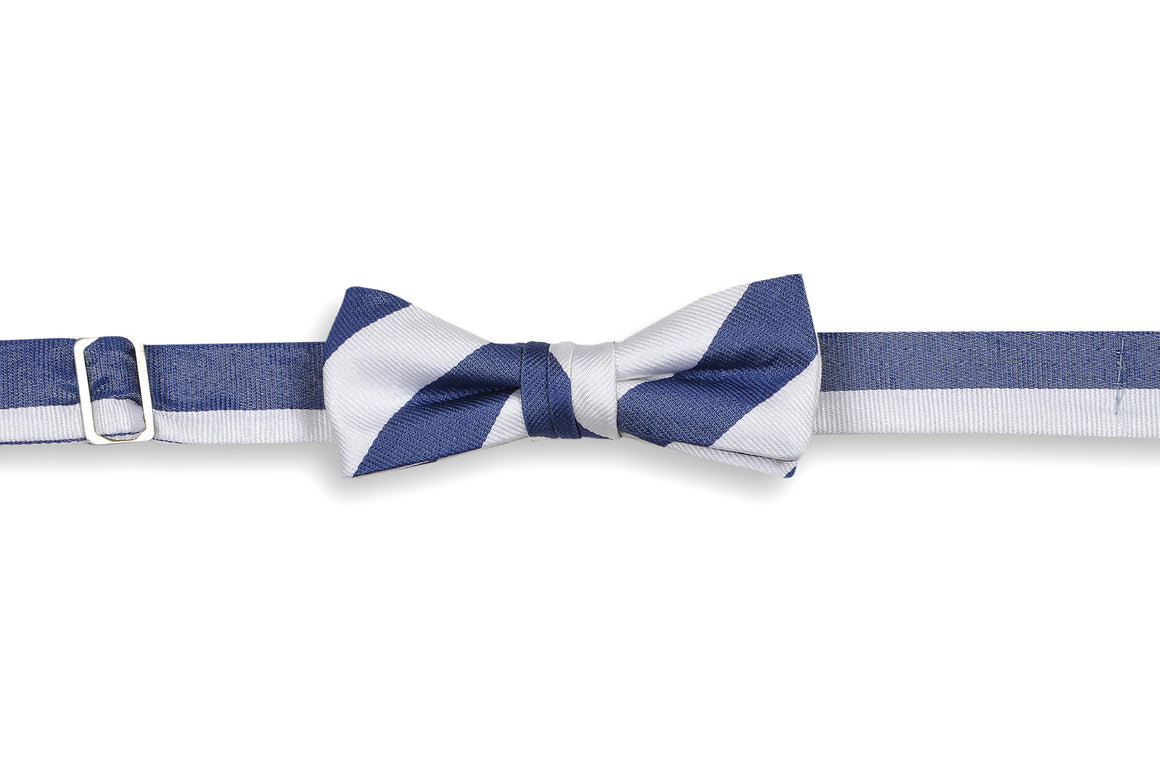 Classic Navy and White Stripe Boy's Bow Tie