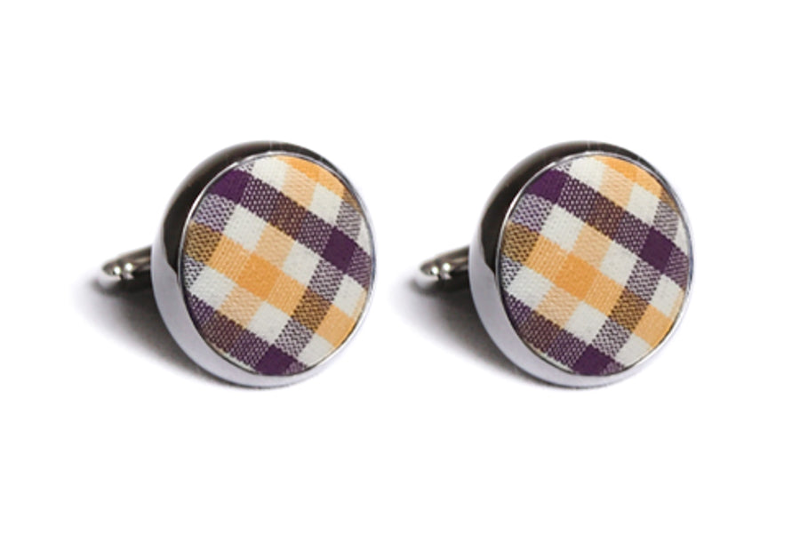 Purple and Gold Tattersall Cufflinks